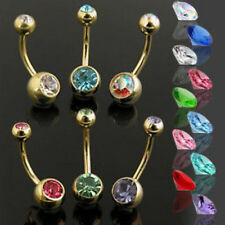 Belly Rings Navel Navel Wholesale Lot 14g 10pc Set of Gold Plated Double Gem