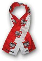 "POLAND WITH EAGLE FLAG SCARF - LIGHTWEIGHT POLYESTER 8"" x 60"" - NEW SCARF SHAWL"