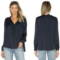 Vince Womens Blouse Pleated Front Oversized Silk Navy Size 0