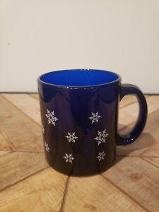 Libbey Cobalt Blue Snowflake Mug USA Glass Cup Christmas Winter RARE