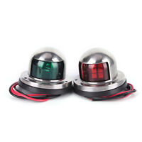 1 Pair Stainless Steel LED Bow Navigation Light Red Green Sailing Signal LightXB