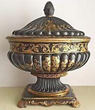 Vintage Urn Tureen Black Gold Ceramic Italian 1950's Floral Rococo Pedestal
