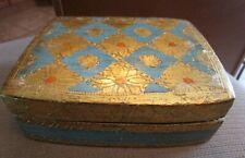 VINTAGE FLORENTINE HOLLYWOOD REGENCY GOLD, BLUE & CORAL HAND PAINTED HINGED BOX