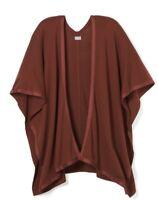 CHICOS Faux Suede Trim Rustic Copper Ruana Poncho S/M NWT Cape Top Sweater