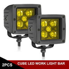 2x 3Inch 80W Amber CREE LED Work Lights Bar Cube Pods Spot Driving Offroad 3000K