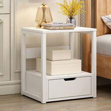 Modern White Bedside Table Drawer Cabinet Bedroom Furniture Storage Nightstand