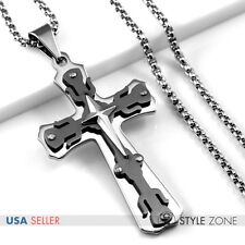 Men Stainless Steel Black Big Cross Pendant w/ Smooth Box Chain Necklace Cool 1A