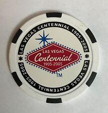 Las Vegas Welcome Sign Centennial Chip Poker Casino White 100th Anniversary
