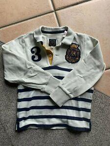 Joules original - polo bianca a righe blu manica lunga, bambino 6 anni, maglia