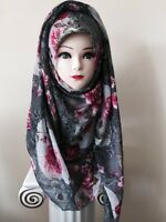 FLORAL print Maxi Large big Scarf Shawl Hijab