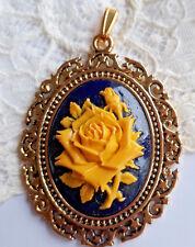 Shabby Colgante Color Oro Antiguo con Camee Gemme Rosa Negro Gelbtracht Кулон