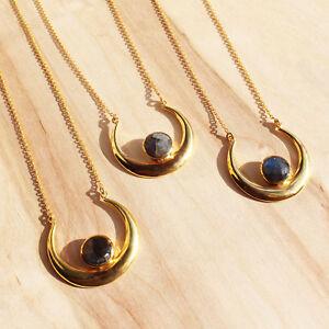 Gold Plated Gemstone Labradorite Crescent Moon Pendant Necklace. Boho Jewellery