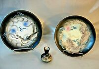 """Two 1950's Dragon Ware Moriage 7 1/2"""" Plates with Mini Vase Japan"""