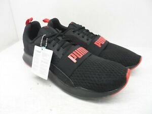 PUMA Men's Wired Mesh Athletic Sneakers Black/Red Size 13M