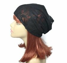 Handmade Black Lace Slouchy Hat Black Lace Hat Boho Summer Slouchy Beanie Turban