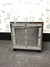 Glitz Mirrored Crushed Crystal 3 Drawer Bedside Cabinet