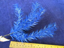 "Vintage Millinery Flower Feather Foliage 7"" Cluster Royal Blue Paris France Y263"