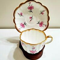 ANTIQUE TAYLOR & KENT TEACUP AND SAUCER HAND PAINTED FLORAL & GOLD GILT