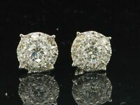 1.10 Ct Round Solitaire Diamond Stud Earrings Men's Ladies 14K White Gold Finish