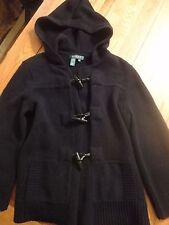 EUC Ralph Lauren Black Wool Toggle HOODED Cardigan Women's Size MEDIUM