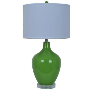 Scratch & Dent Avery Green Glass Table Lamp Acrylic Base 27 In. Tall