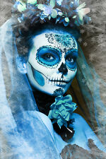 BEAUTIFUL MEXICAN SUGAR SKULL CANVAS PICTURE #55 STUNNING GOTHIC WEDDING CANVAS