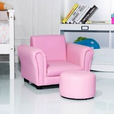 Kids Room Pink Armrest Sofa W/ Matching Ottoman Children Couch Furniture US