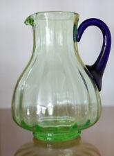 Vintage FENTON Art Glass Green Depression Tumble Up Pitcher w/ COBALT Handle