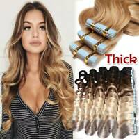 CLEARANCE Tape In Remy Human Skin Weft Hair Extensions Full Head Caramel Wavy US