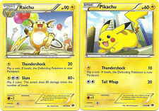2 EVOLUTION POKEMON- RAICHU #40 & PIKACHU #39- BW NEXT DESTINIES- Nonholo MINT