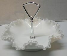 Fenton Handled Candy Dish Bowl White Milk Glass with Clear Glass Ruffled Rim