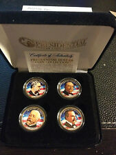 2012 USA MINT COLORIZED PRESIDENTIAL $1 DOLLAR 4 Coins set with box