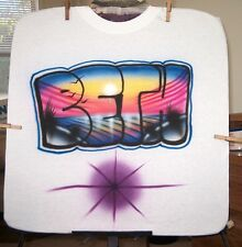 Airbrushed T-Shirt BEACH SCENE NAME S M L XL 2X 3X 4X