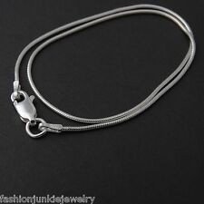 "Snake Chain Anklet - 925 Sterling Silver - 1mm Round Anklet 9"" or 10"" Italy NEW"