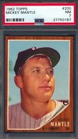 1962 Topps — Mickey Mantle #200 — PSA 7 — HIGH END