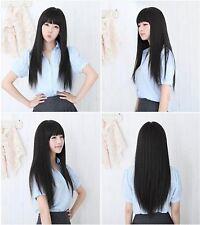 Sexy Korean Black Synthetic Hair Wig Long Straight w/ Bangs Kanekalon Fibre