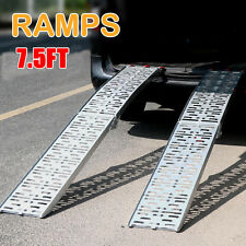 2x 7.5' Folding Aluminum Atv Loading Ramp Lawnmower Motorcycle Truck Heavy Duty
