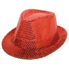 DELUXE RED SEQUIN TRILBY 70S DISCO XMAS