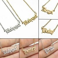 NEW Old English Letter Pendant Necklace Stainless Steel Chain Choker Jewellery