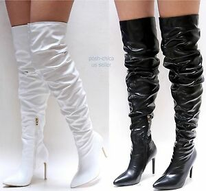 Stupmary Womens Over The Knee Boots Pointed Toe Stiletto Plaid Heels Winter Boots Thigh High Bootie Zipper