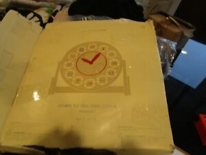 Pottery Barn Kids wooden clock Learn to tell time New missing pieces box damaged