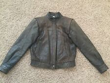 Vtg WOMENS M JULIAN TANNERY WEST OLIVE GREEN BROWN LEATHER BIKER BOMBER JACKET