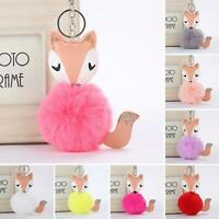 EB_ BH_ KF_ ITS- AU_ Cute Pom Pom Ball Faux Fur Fox Key Chain Ring Keyring Keych