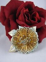 Vintage Vendome Rhinestone & Enamel Flower  Pin Brooch  CAT RESCUE