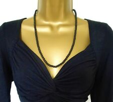 "Beautiful Vintage Look 24"" Necklace with Jet Black Glass Beads"