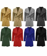Ladies French Waterfall Short Coat Women Long Sleeve Belted Trench Jacket