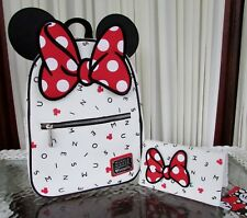 Disney Loungefly Minnie Mouse Letters Backpack & Wallet Set Travel Bag NWT