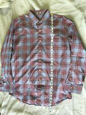PETER MILLAR Mens Cotton Button Front Long Sleeves Plaid Shirt Sz Large