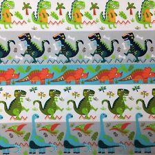 Dinosaur Stripe Cartoon Multicolour Sewing Quilting Fabric Cotton New FQ