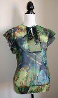 Anmol Green & Blue Floral Print Flutter Sleeve Lightweight Chiffon Top BNWT